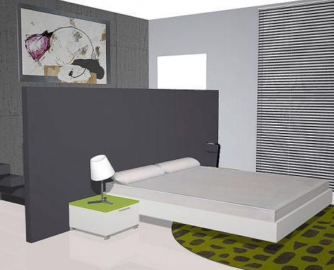 Habitacion de matrimonio con un aro flotante y 2 mesitas colocados en una pared color gris.
